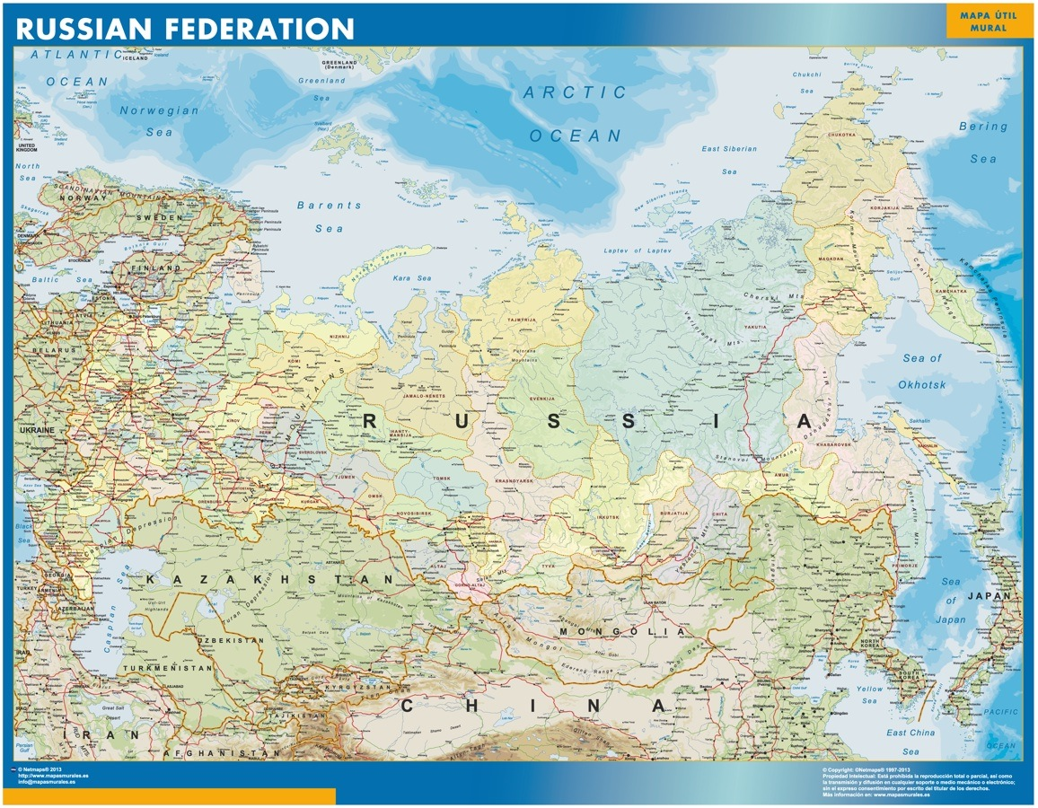 Picture of: Russia Map Wall Maps Of Countries For Europe