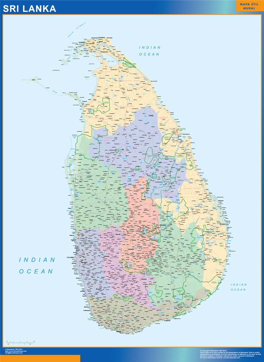 Sri Lanka Map Wall Maps Of Countries For Europe