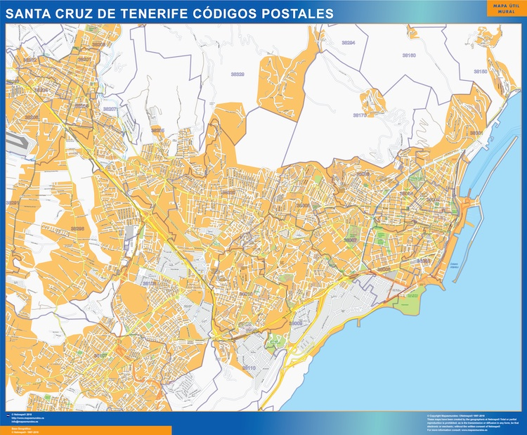 Zip Codes Santa Cruz De Tenerife Map Wall Maps Of Countries For Europe